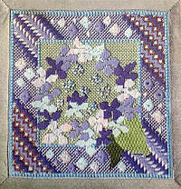 Needlepoint Miniature Hydrangeas kit for sale and designed by Anna Pearson