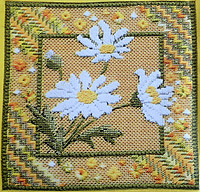 Needlepoint Miniature Marguerites kit for sale and designed by Anna Pearson