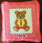 Girl Teddy Needlepoint Design which you can buy online from All Stitched Up
