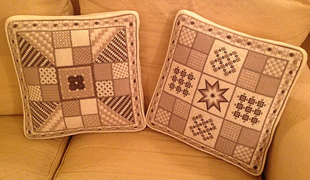 Needlepoint designs stitched by Jennifer Hignell, of East Lothian